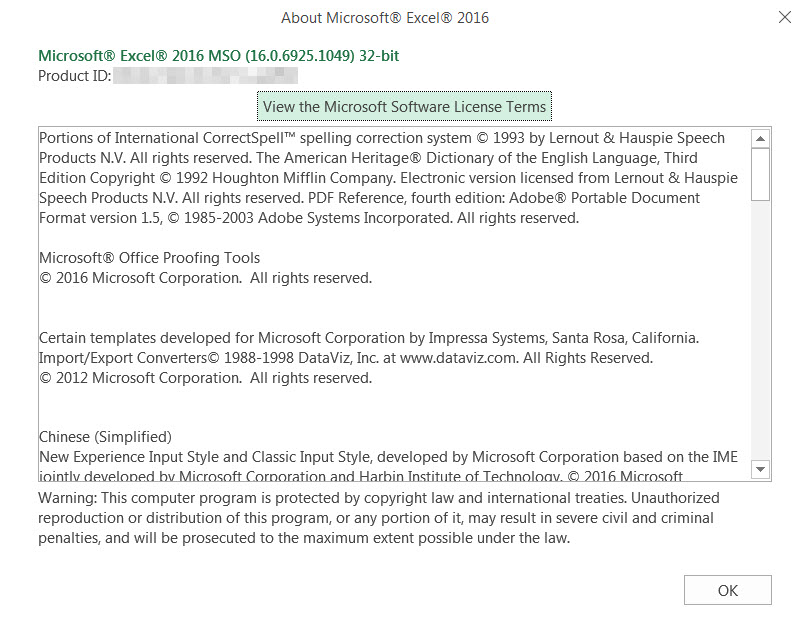 Microsoft Excel versions